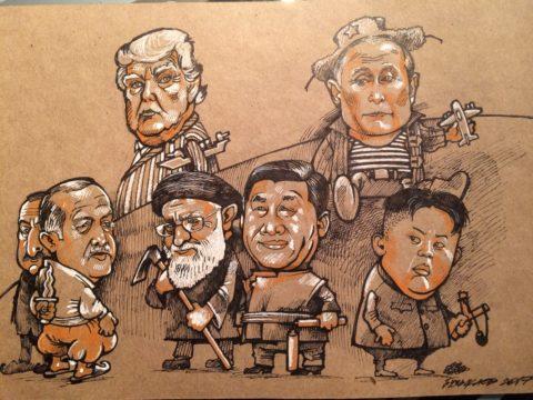 Карикатура, Камиль Бузыкаев, 2017, крафтовая бумага, тушь, перо, 20х30