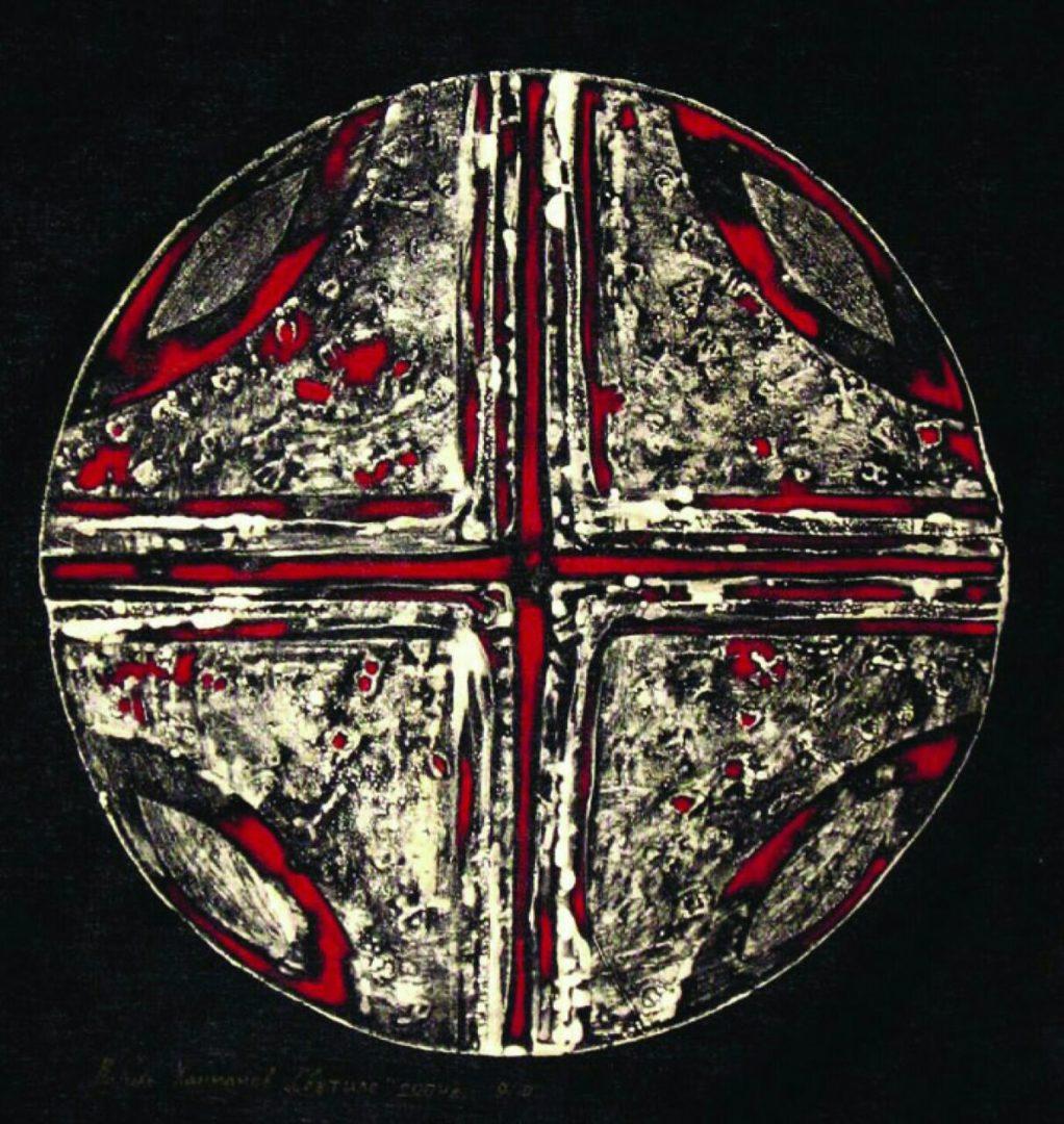 «Светило», Василь Ханнанов, 2002,черная ткань, травление, акрил, 80х80 см