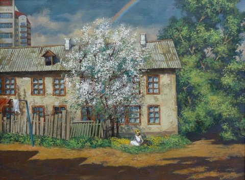 «Венок из одуванчиков», Рамиль Латыпов, 2013, холст, масло, 60х80