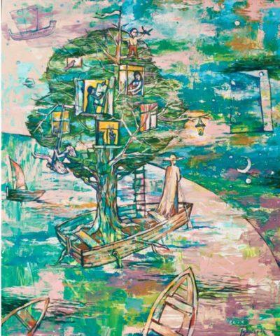 """""""Поиск дома"""", Рушания Бадретдинова, холст, масло, акрил, 120х100 Картина заслужила золотую медаль в номинации «Фантазия» галереи NEW YORK REALISM. Смысл этой работы в том, что куда бы человек не поехал и в какие миры не попал он всегда думает о своих близких: «На ней изображена лодка, как путь человека, на ней дерево, как продолжение рода, люди на ней - это я и мои дети и на носу корабля волшебник, который везёт нас к нашим мечтам»."""