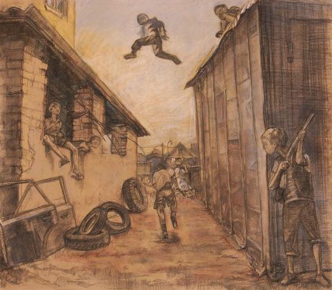 «Дети (Как прошло наше детство)», Артур Нурадинов, 2008, крафтовая бумага, пастель, уголь