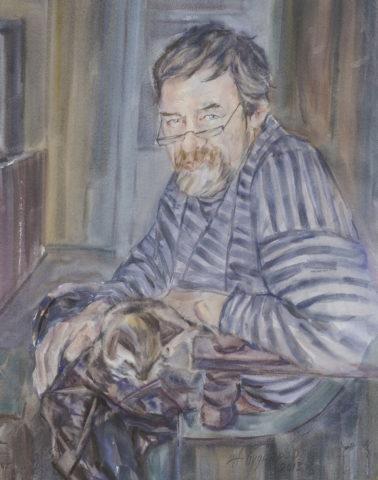 «Портрет художника Алексея Королевского», Альберт Кудаяров, 2013, бумага. акварель