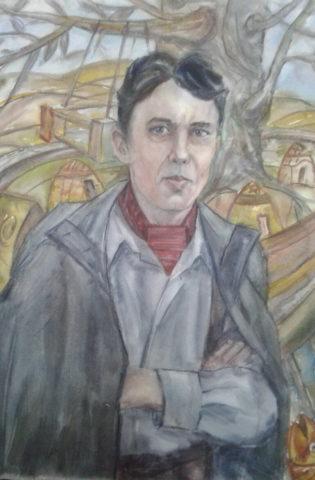 «Портрет художника Амира Мазитова», Альберт Кудаяров, 2017, бумага, акварель