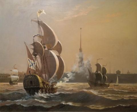 «300 лет Российскому флоту», Юрий Бычков, 1998, холст, масло