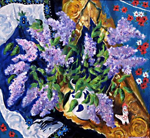 «Сирень», Виктор Домашников, 1995, холст, масло, 65х70