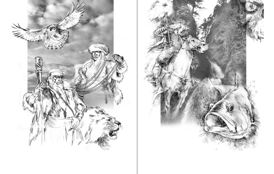 «Урал Батыр», Азат Кужин, иллюстрации к эпосу «Урал Батыр»