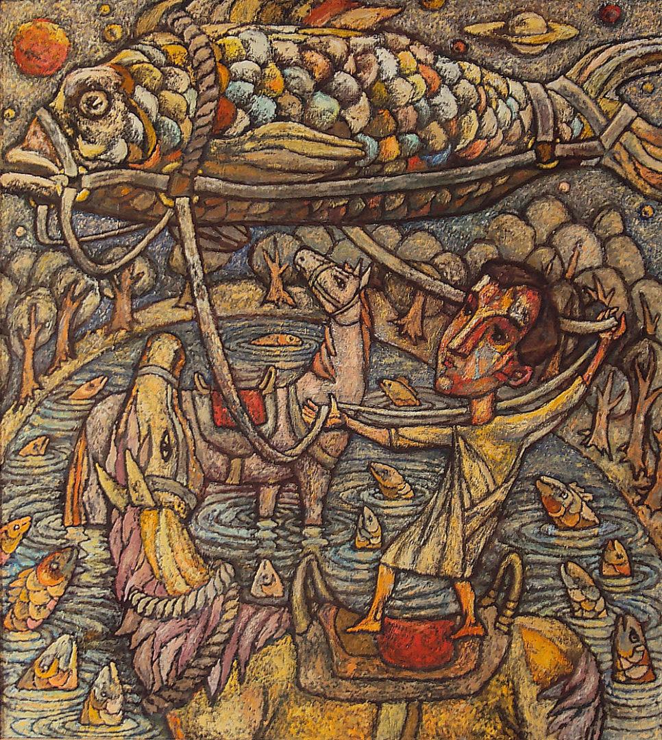 «Разговор с рыбой» из серии «Притчи», Амир Мазитов, 2013-16, холст, масло, 179х150