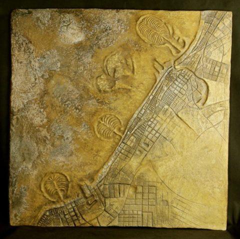 «Dubai», Ринат Миннебаев, 2010, авторская техника с использованием минеральных красителей (мел, глина, охра), 103x103.