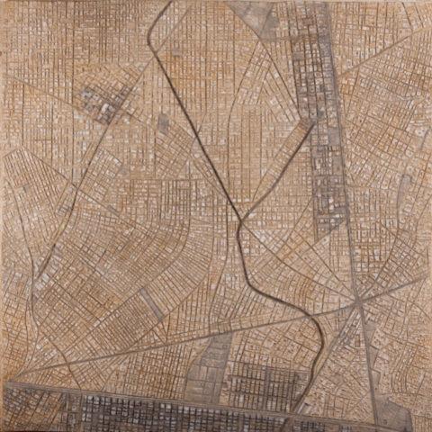 «New Delhi», Ринат Миннебаев, 2015, серия «Геоглифы», авторская техника с использованием минеральных красителей (мел, глина, охра), 102.5x102,5
