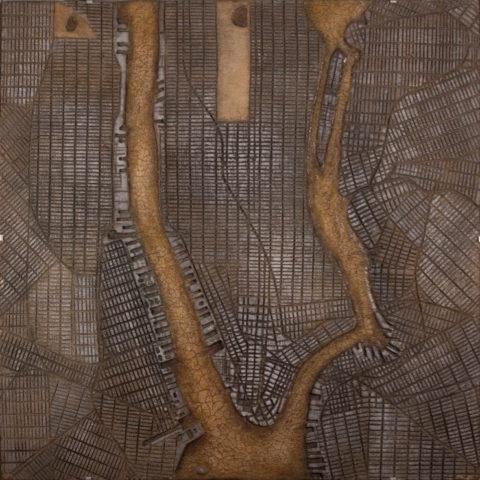 «New York», Ринат Миннебаев, 2015, серия «Геоглифы», авторская техника с использованием минеральных красителей (мел, глина, охра), 101x101