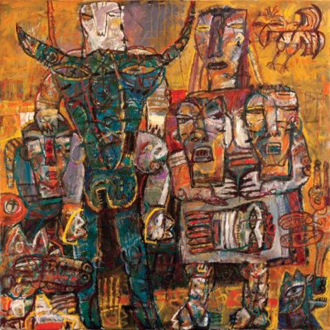 «Синий бык, золотые стремена», Айрат Терегулов, холст, масло, 160x140