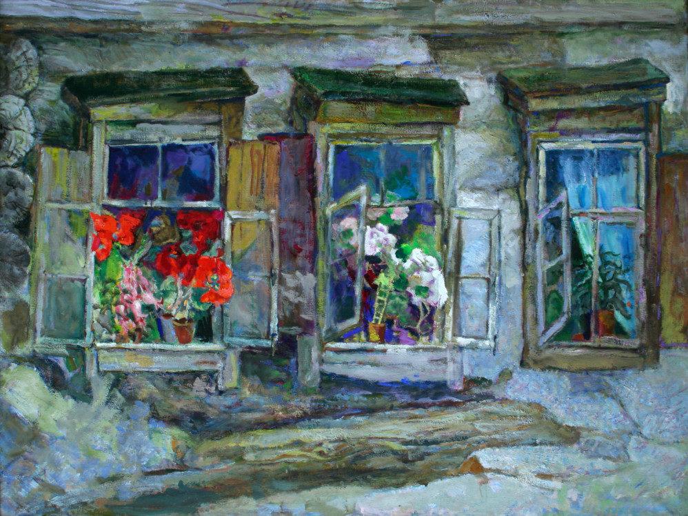 «Цветущие окна», Александр Тюлькин (1888-1980), 1960, холст, темпера, фонд БГХМ им. М. В. Нестерова