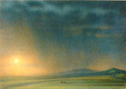 «Слепой дождь на закате солнца», Владимир Калабухов, 1995, бумага, пастель