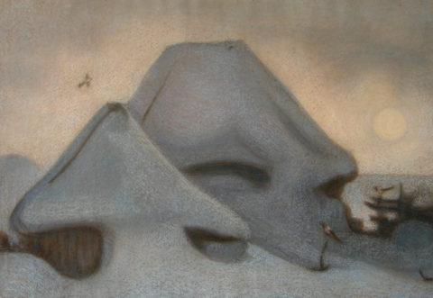 «Пейзаж с сороками», Владимир Калабухов, 1978, бумага, пастель