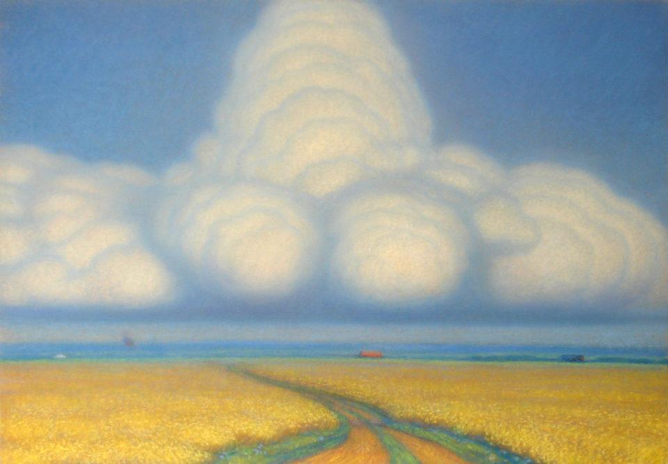 «Облако над хлебным полем», Владимир Калабухов, 1988, бумага, пастель