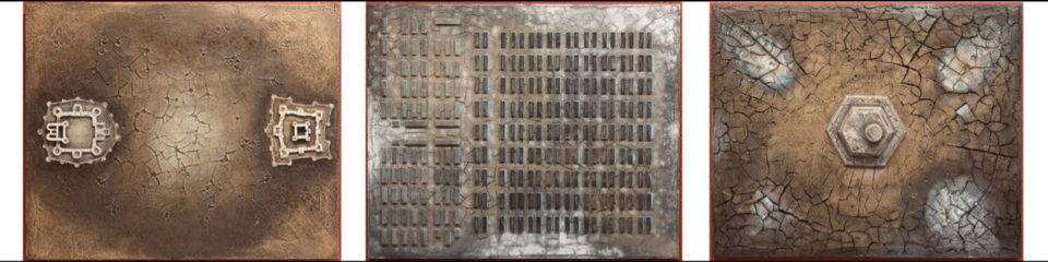 Триптих «Война», Ринат Миннебаев, серия «Геоглифы», 2015, авторская техника с использованием минеральных красителей (мел, глина, охра), левая часть «Противостояние», центр «Оргнунг», правая часть «Последний бункер», 70х90 каждая