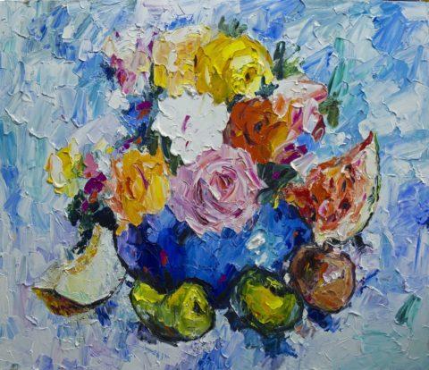 «Цветы и фрукты», Юрий Уждавини, 2017, холст, масло, 85х90