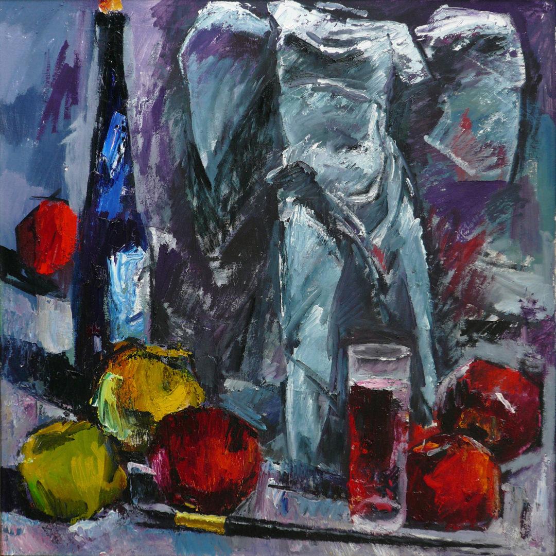 «Ника, яблоки, вино», Юрий Уждавини, 2014, холст, масло, 80х80