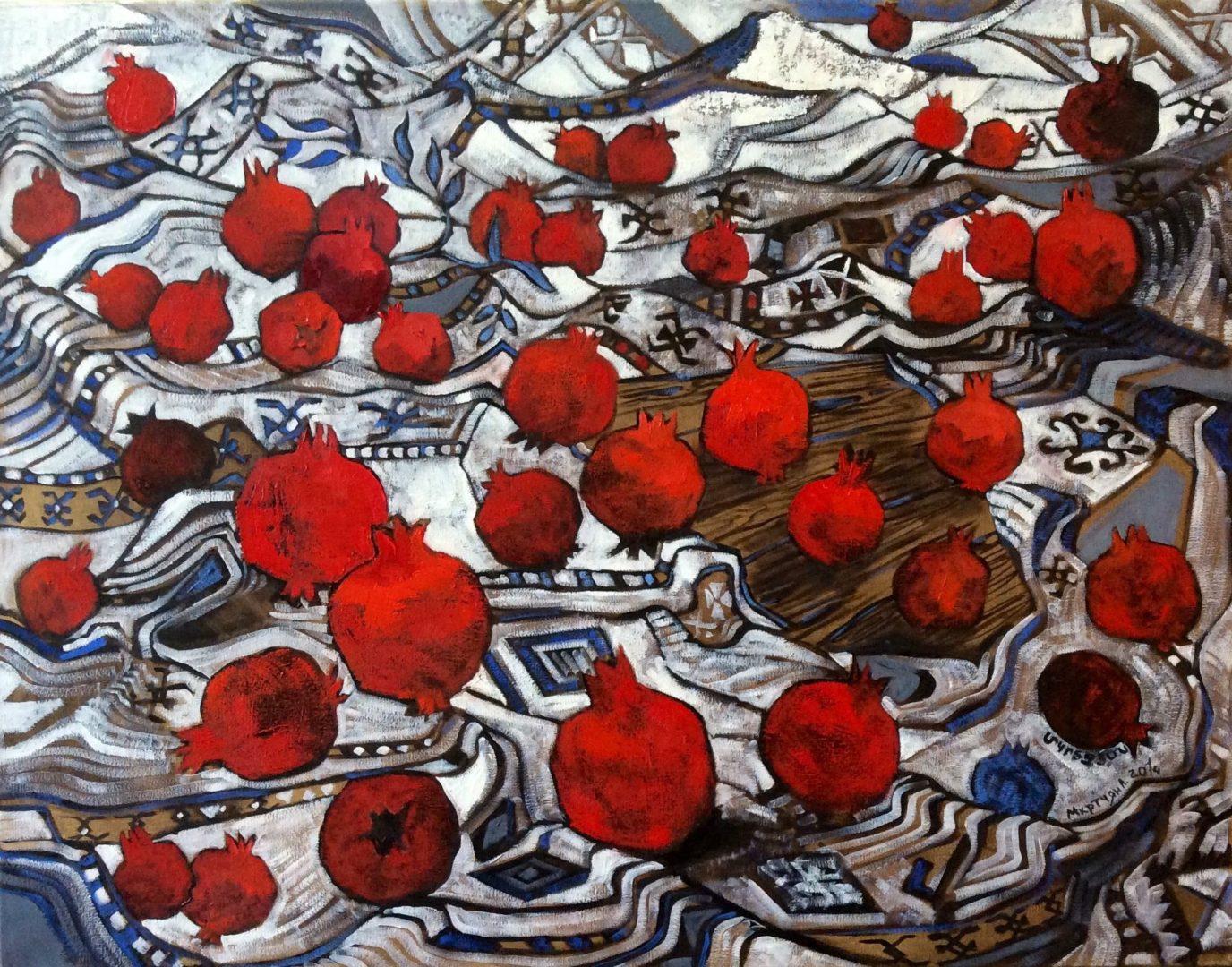 «Гранаты на белом», Лиана Мкртчян, холст, масло