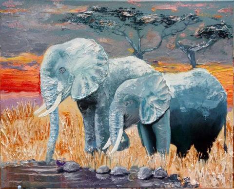 «Слоны в саванне», Марина Тарасова, 2017, холст, масло