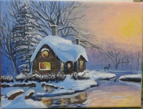 «Зимнее утро. Домик в лесу», Марина Тарасова, 2015, холст, акрил