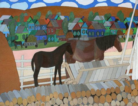 «Деревенский мотив», Миля Гатауллина, 2011, холст, масло, 100х150