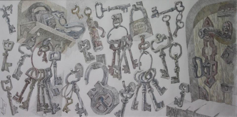 «Тайны старых ключей», Валерий Мельников, 2010-2011, серия «Жизнь старых вещей», бумага, цветной карандаш, 34х67