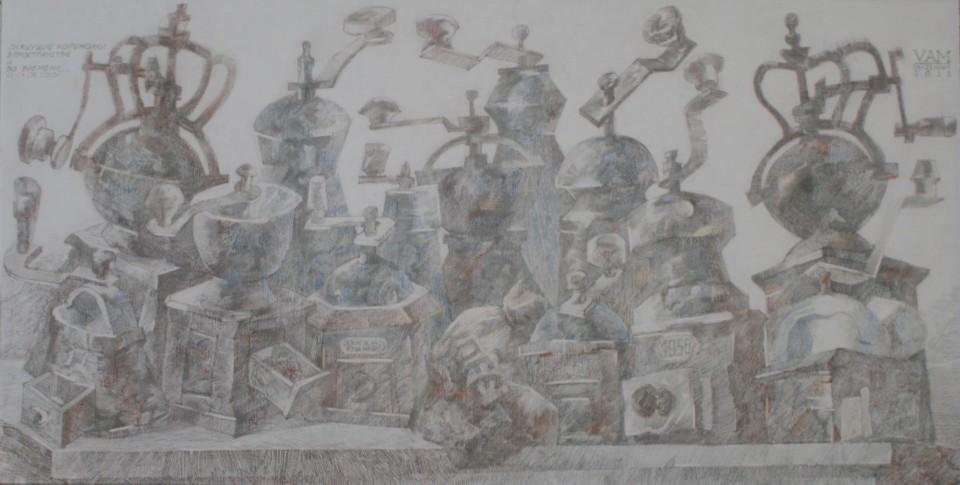 «Танцующие кофемолки», Валерий Мельников, 2010-2011, серия «Жизнь старых вещей», бумага, цветной карандаш, 34х67