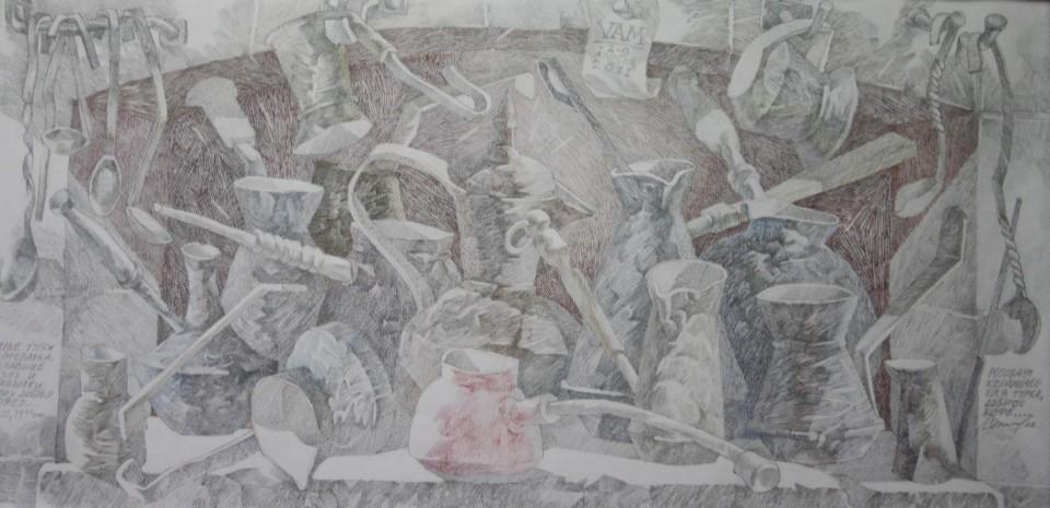 «Розовая турка», Валерий Мельников, 2010-2011, серия «Жизнь старых вещей», бумага, цветной карандаш, 34х67
