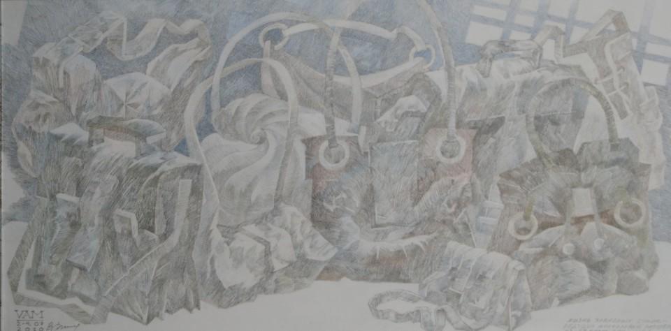 «Разговор старых сумок», Валерий Мельников, 2010-2011, серия «Жизнь старых вещей», бумага, цветной карандаш, 34х67