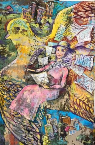 «Поэтесса Ах Астахова», Раушания Бадретдинова, холст, масло, 130х85