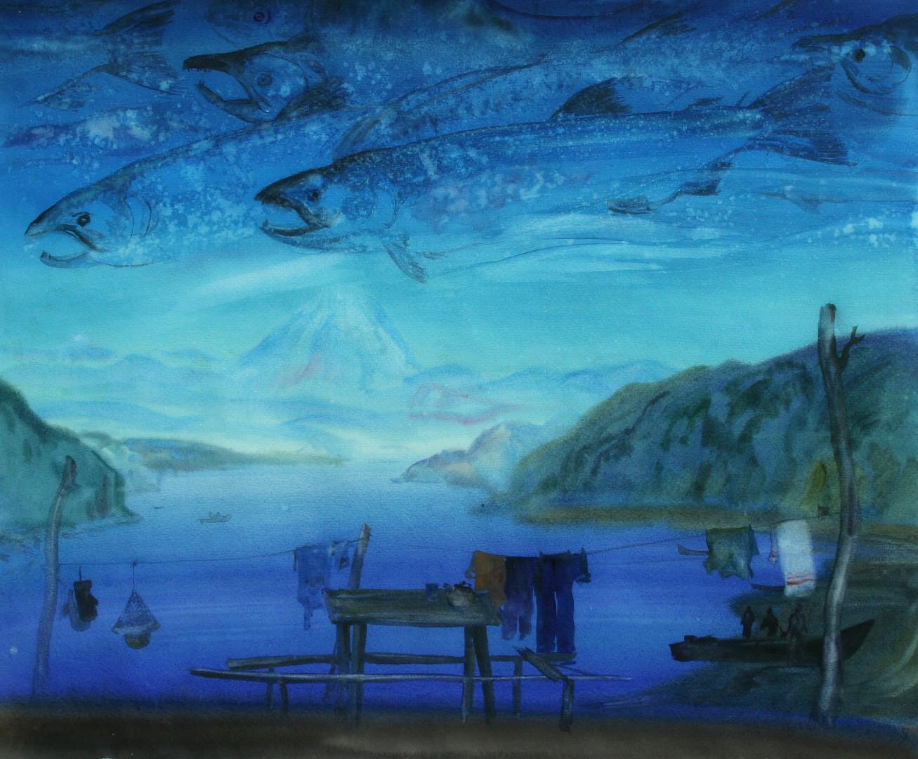 «Туда, где родились», Виктор Суздальцев, 1988, акварель