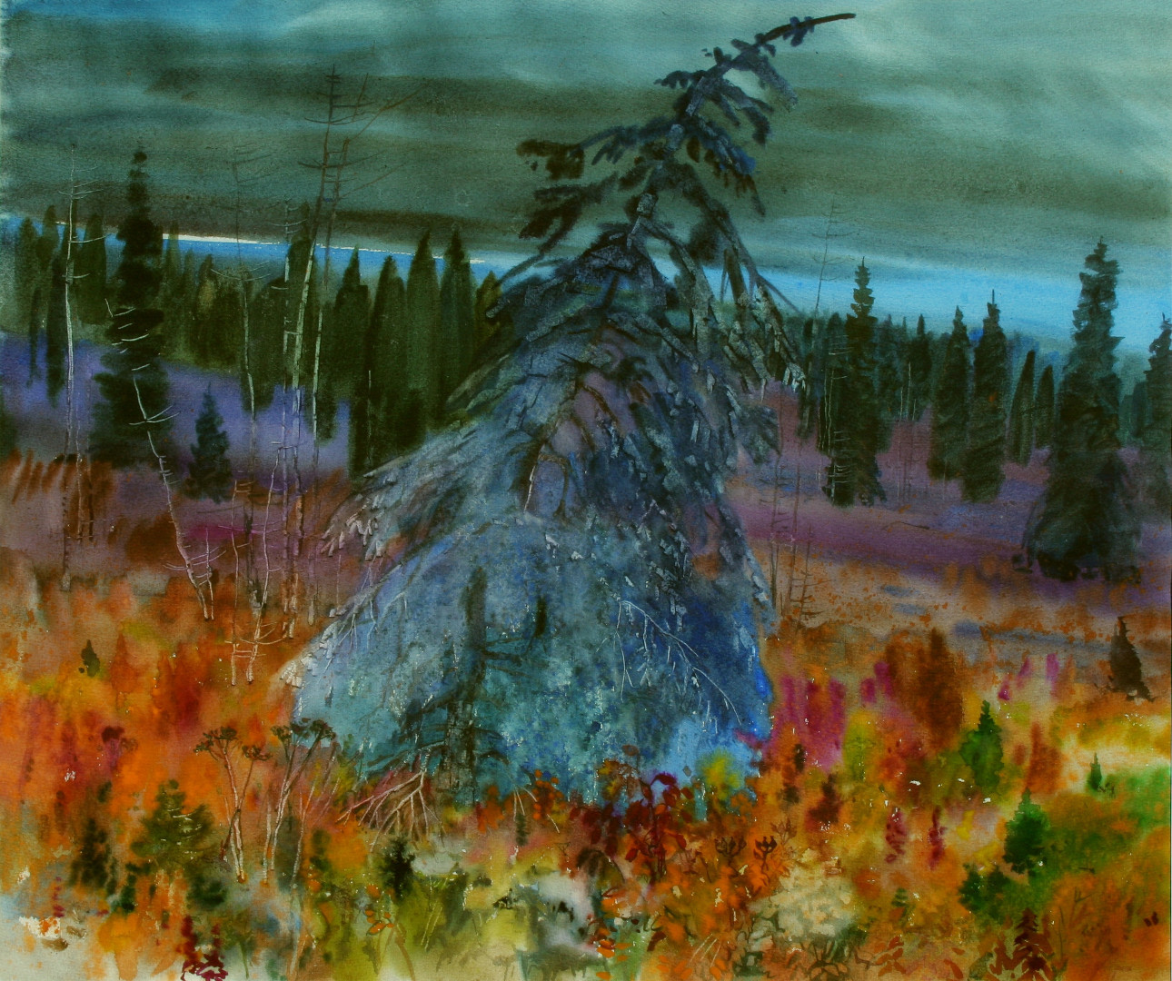 «Перед бурей. Иремель», Виктор Суздальцев, 2005, акварель
