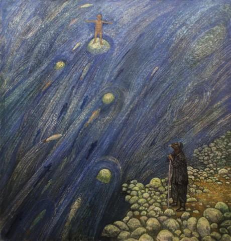 «У реки. Нерест», Джалиль Сулейманов, 2016, холст, масло, 150х150