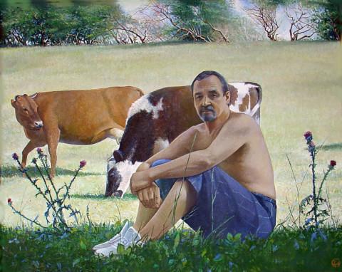 «Автопортрет на своей земле», Вакиль Шайхетдинов, 2009, холст, масло