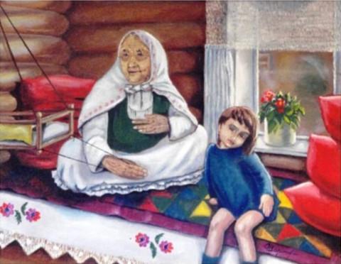 «Колыбельная», Флёра Шарипова, 1999, двп, масло, 50х70