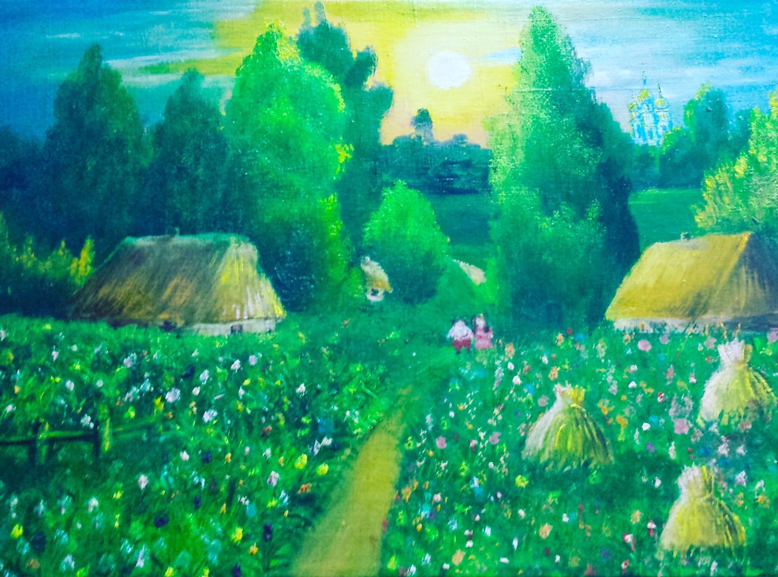 «Деревенский пейзаж», Александра Дубинина, холст, масло, 40х60 см, 2017 г.