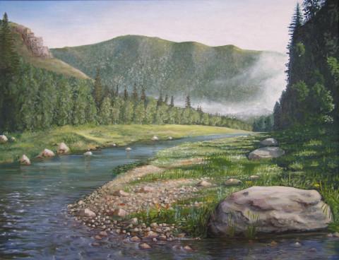 «Река Нугуш», Флёра Шарипова, 2003, двп, масло, 94х75