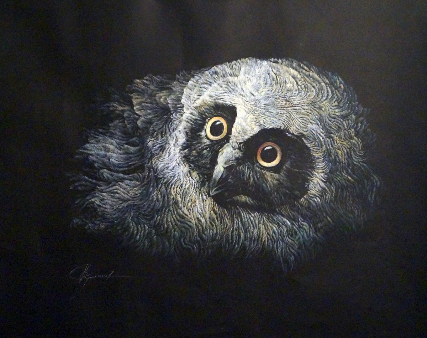 «Ночной совёнок», Руслан Султанов, 50х60, бумага, масло