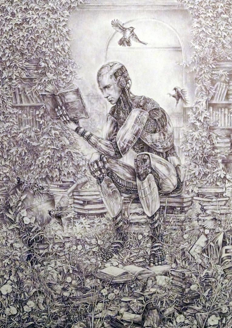 «Старая библиотека», Руслан Султанов, А3, шариковая ручка