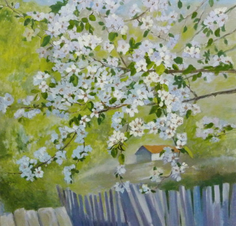 «Грушевый цвет. Май в Воскресенске», Инна Калабухова, 2017, холст, масло, 65х65