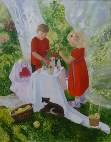 «Дети в саду», Инна Калабухова, 2016, холст, масло, 140х110