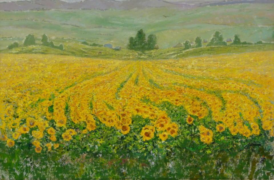 «Жёлтое поле. Подсолнухи», Инна Калабухова, 2016, холст, масло, 100х150