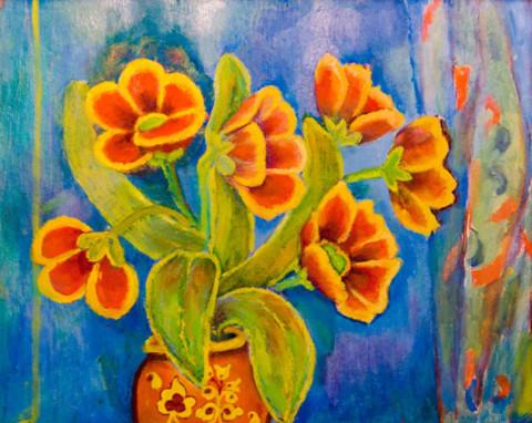 «Цветы в вазе», Фания Шевчук, 2005, картон, масло