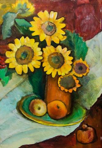 «Подсолнухи с яблоками», Фания Шевчук, 1990, картон, масло