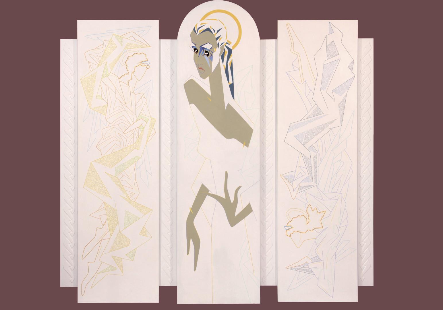"""Мария"" триптих, 2016г. холст на картоне, акрил187 х190"