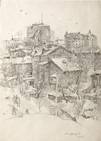 «Зимняя Уфа», Сергей Маджар, 2006, бумага, карандаш, 29,5х20,5
