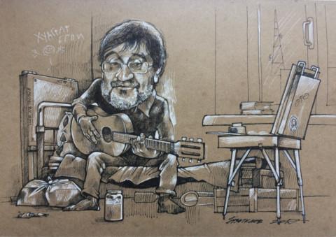 «Юрий Шевчук», Камиль Бузыкаев, 2017, крафтовая бумага, тушь, перо, 20х30