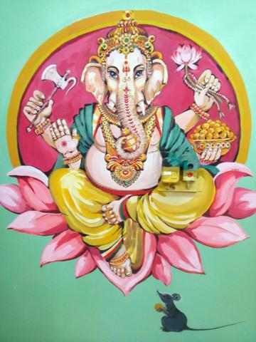 «Ganesha» , Юлия Келу, 2016, настенный арт, коллер