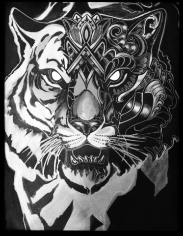 «Тигр», Юлия Келу, 2017, Графика, тушь